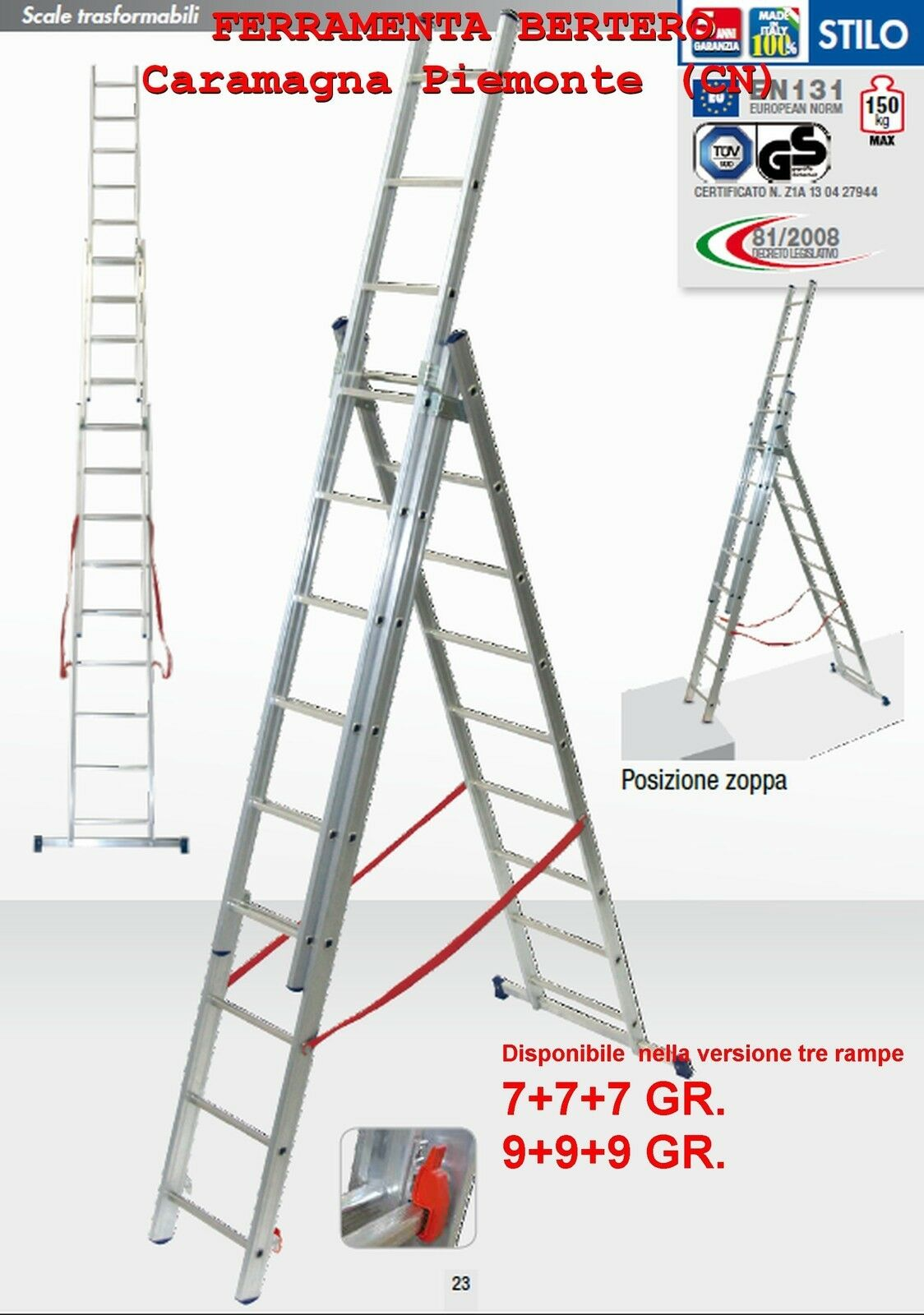 SCALA ALLUMINIO FACAL STILO 3 RAMPE  DISPONIBILE DA 7+7+7  - 9+9+9 GRADINI