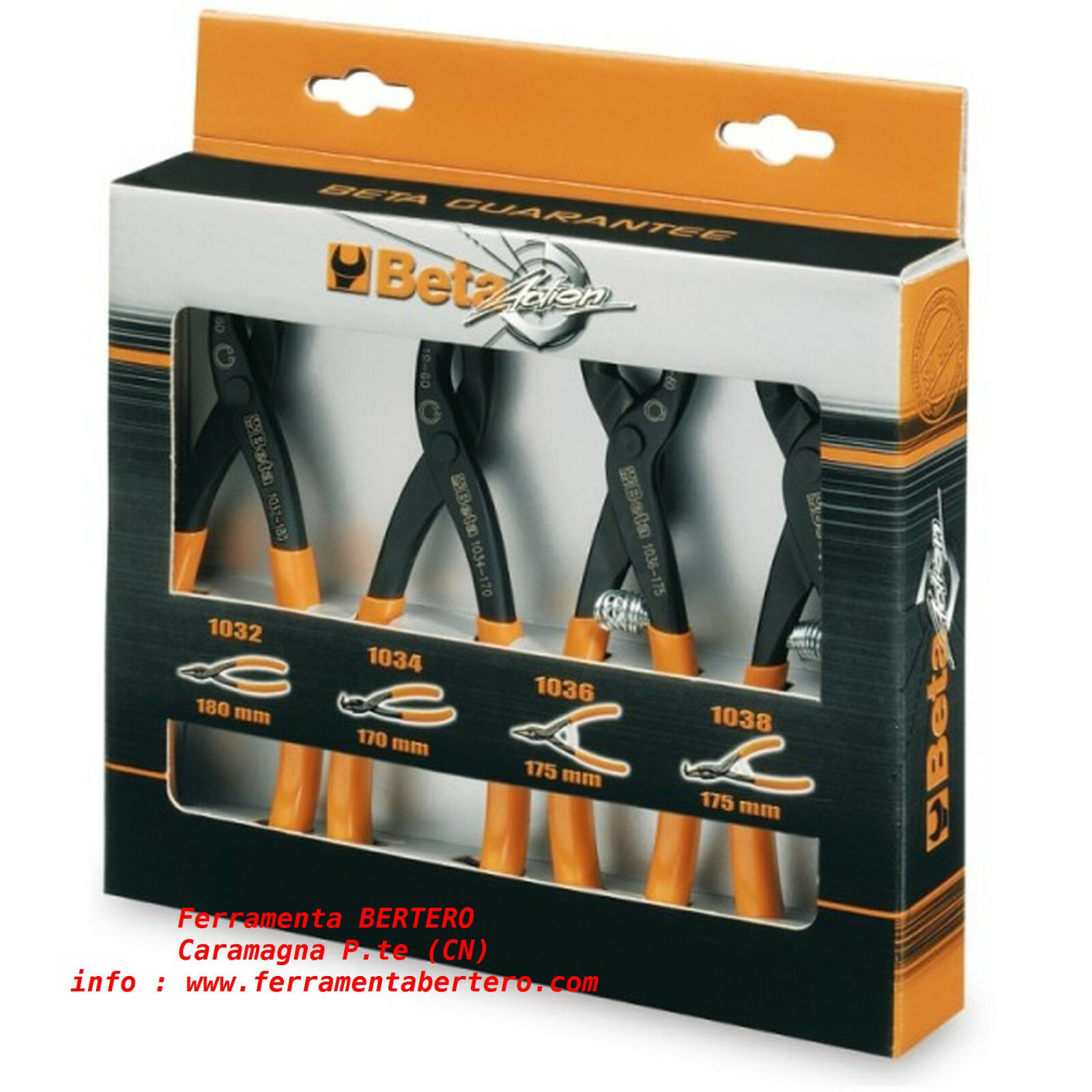SET SERIE 4 PINZE SEEGER BETA TOOLS 1031/S4 ANELLI ELASTICI SICUREZZA