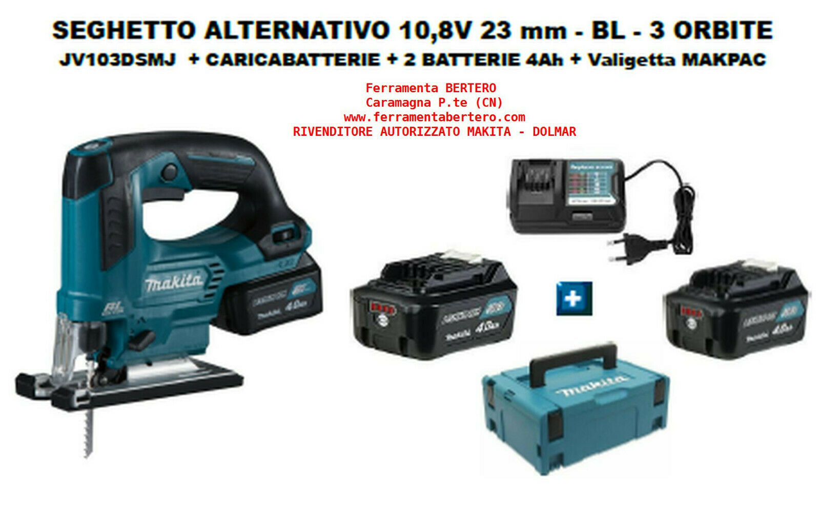 SEGHETTO ALTERNATIVO MAKITA 10,8V (12V) +caricabatt. + 2 batterie 4Ah + MAKPAC