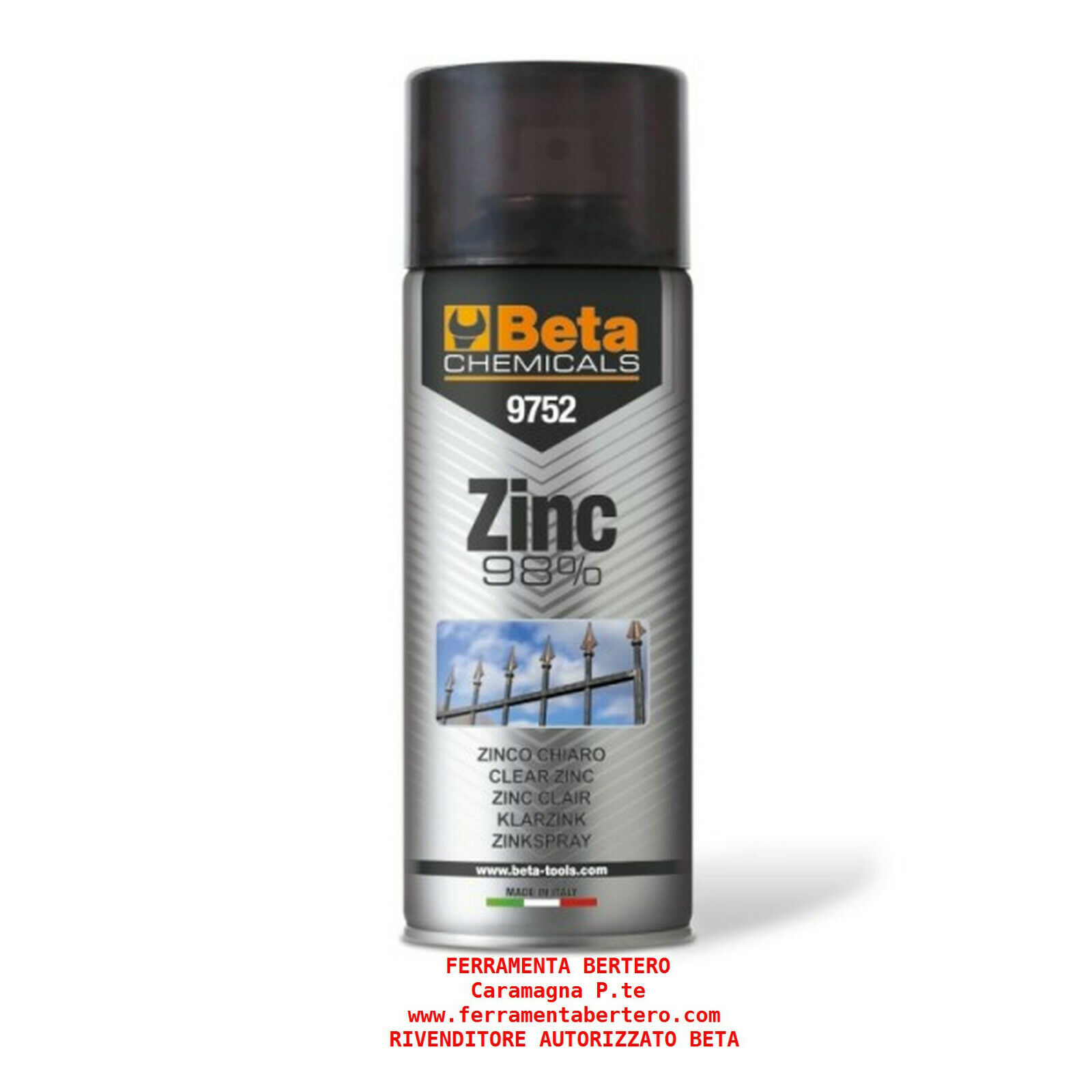 ZINCO SPRAY BETA 9752  98% ZINCANTE Spray zinco chiaro 400ml zincante a freddo